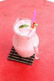 Strawberry smoothie cool drinks in glass Royalty Free Stock Photo