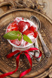 Strawberry smoothie decorated with mint leaf Stock Image
