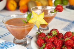 Strawberry smoothie duo Stock Photo