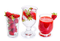 Strawberry smoothie with fresh berries Royalty Free Stock Photos
