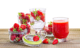 Strawberry smoothie with fresh berries Stock Photography