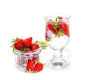 Strawberry smoothie with fresh berries Stock Photos