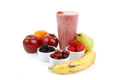 Strawberry smoothie with fresh fruit Royalty Free Stock Photography