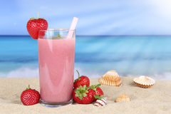 Strawberry smoothie fruit juice with strawberries fruits on the Stock Photo
