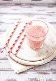 Strawberry Smoothie in a Glass Stock Photo