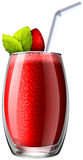 Strawberry smoothie in glass Stock Photos