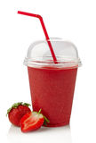 Strawberry smoothie. Glass of strawberry smoothie on white background stock photo