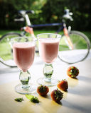 Strawberry smoothie. Strawberry healthy smoothie on table Stock Image