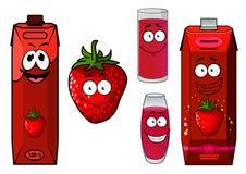 Strawberry smoothie or juice icon set Royalty Free Stock Photos