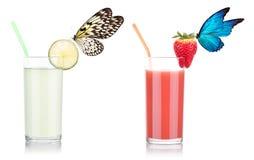 Strawberry smoothie and lemon juice Royalty Free Stock Photo