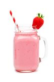 Strawberry smoothie in a mason jar isolated on white Stock Photo