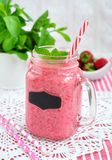 Strawberry smoothie, milk cocktail Stock Photos