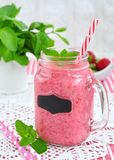 Strawberry smoothie, milk cocktail Stock Photography