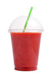 Strawberry smoothie in plastic  cup Royalty Free Stock Photo