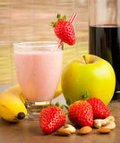 Strawberry smoothie refreshing fruit meal - healthy vegetarian f Royalty Free Stock Images