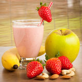 Strawberry smoothie refreshing fruit meal - healthy vegetarian f Royalty Free Stock Photography
