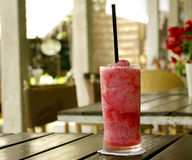 Strawberry smoothie at relax resort cafe Royalty Free Stock Photo