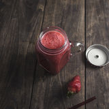 Strawberry Smoothie on table Royalty Free Stock Photo