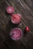 Strawberry Smoothie on table Royalty Free Stock Photos