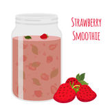 Strawberry smoothie. Vegetarian organic detox drink. Healthy nutrition, cocktail. Stock Images