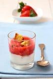 Strawberry smoothie with yogurt, biscotti biscuits Stock Image