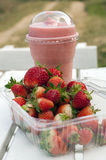Strawberry and smoothies. At the farm royalty free stock image