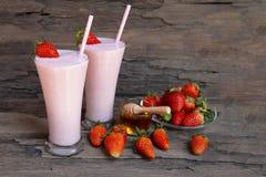 Strawberry smoothies colorful fruit juice milkshake blend beverage healthy. royalty free stock photo