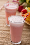 Strawberry Smoothies and Fruit Kabobs Royalty Free Stock Photos
