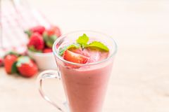 Strawberry smoothies milkshake. In glass stock images