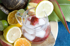 Strawberry soda in glass jar Royalty Free Stock Image