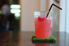 Strawberry soda with jelly drink Stock Image
