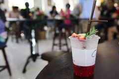 Strawberry soda. With strawberry and lamon drink royalty free stock photo
