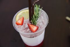 Strawberry soda. With strawberry and lamon drink royalty free stock photography