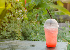 Strawberry soda on nature background Royalty Free Stock Photos