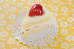 Strawberry soft cake on yellow background Stock Photography