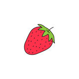 Strawberry solid line icon, healthy fruit, royalty free illustration