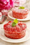 Strawberry sorbet decorated with mint leaf. Summer party dessert Royalty Free Stock Image