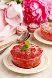 Strawberry sorbet decorated with mint leaf Royalty Free Stock Images