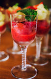 Strawberry sorbet. With mint and honey Stock Image