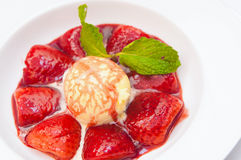 Strawberry soup with ice-cream Royalty Free Stock Photo