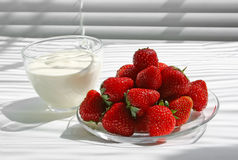 Strawberry with sour cream Royalty Free Stock Image