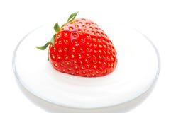 Strawberry in a sour cream. Single strawberry in a sour cream Stock Photo