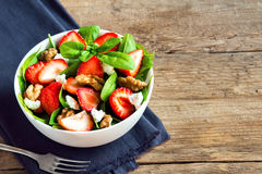 Strawberry and spinach salad Stock Photos