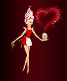 Strawberry Spirit. Vector girl - a waitress in a little red dress, holding a cake in her left hand and a chocolate covered srtawberry in her right hand, having Stock Images