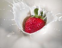 Strawberry Milk Splash. Strawberry splash in fresh milk Stock Photo