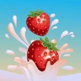 Strawberry splash vector stock illustration
