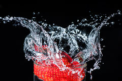 Strawberry splash in the water Royalty Free Stock Images