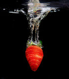 Strawberry Splash in Water, Black Bacground. Strawberry Splash in Water, Isolated,  Black Bacground Stock Photography