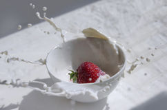 Strawberry splashing in the cup of milk Royalty Free Stock Photos
