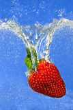 Strawberry Splashing Into Liquid Royalty Free Stock Images